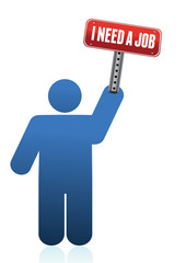 Icon with I need a job sign illustration