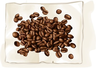 Coffee bean on book
