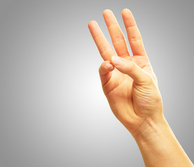Human Hand With  Two Fingers Pointing Up