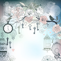 Aluminium Prints Birds in cages Floral background