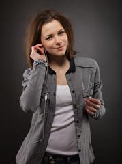 Portrait of the girl wearing headphones