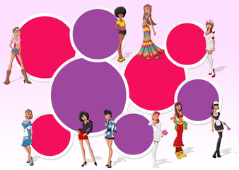 Pink template for brochure with beautiful sexy cartoon girls