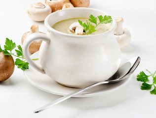 Champignon mushroom soup with parsley