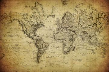 Obraz Vintage mapa świata 1814 - fototapety do salonu