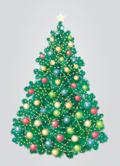 Vector of Christmas tree, grey background is in separated layer
