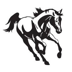 running horse black white image
