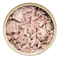 Tuna fish in a can on white