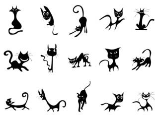 cartoon Black cat silhouettes