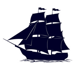The contour of the ancient sailing ship
