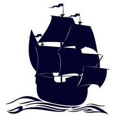 Contour of a sailing ship