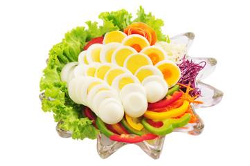 Boiled eggs on white background