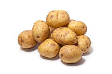 White Potatoes isolated on a white studio background.