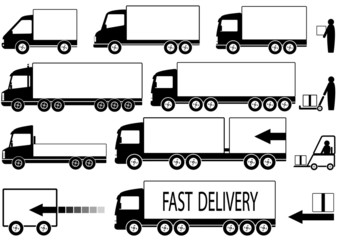 set of trucks icons with people
