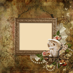Vintage background with frame and angel