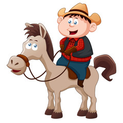 Stores à enrouleur Ouest sauvage Little Cowboy riding horse vector