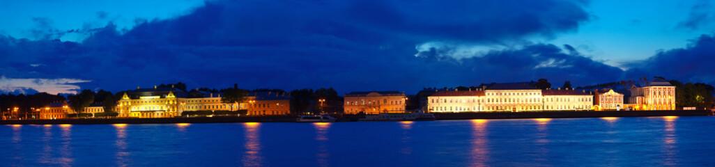 view of Vasilyevsky Island in night. Saint Petersburg