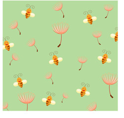 Wallpaper bee and dandelion