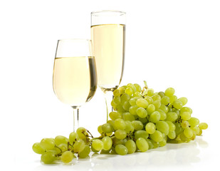 white wine and grapes isolated
