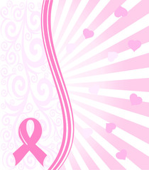 vector illustration of a  pink ribbon breast cancer support back