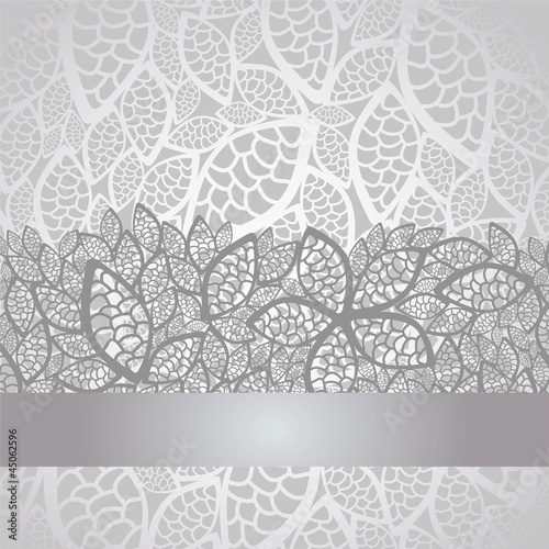"""Luxury silver leaves lace border and background"" Stock ..."