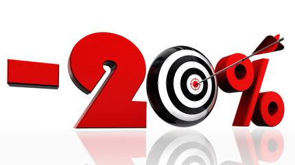 twenty per cent discount symbol with conceptual target