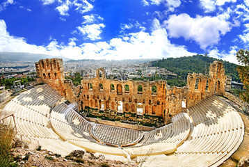 Poster de jardin Athenes ancient theater in Acropolis Greece, Athnes