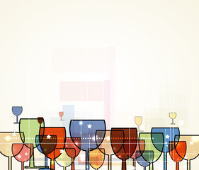 abstract wine christmas background for restaurant menu with glas