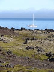 Yacht near coastline, Jan Mayen island, the Arctic