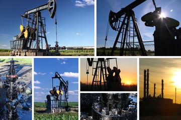 Oil Pump Jack and refinery split screen