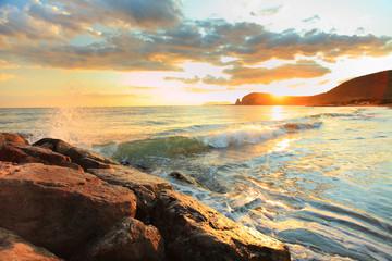 Sunset sea and beach, Italy
