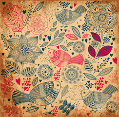 Fototapete - Vector floral background with old paper texture