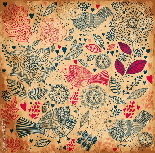 Fototapete Vector floral background with old paper texture