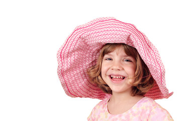 Wall Mural - happy little girl with big hat