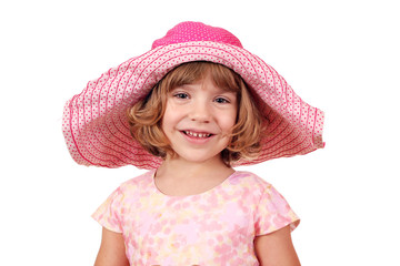 Wall Mural - little girl with big hat portrait