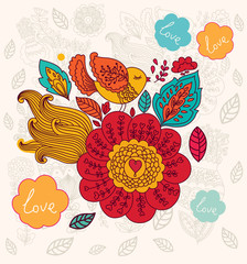 Fototapete - Vector floral background with bird