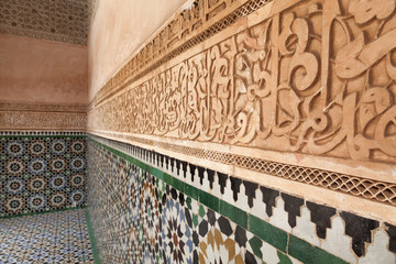 Plaster wall decoration in the Medersa ben Youssef