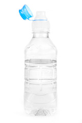 Plastic water bottle over white