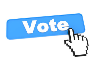 Blue Vote Button or Switch on White Background.
