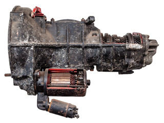 Vintage car gearbox isolated on white