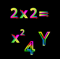 Bright colorful numbers on black background