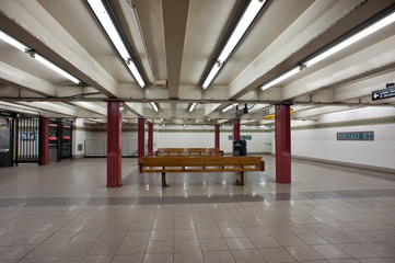 Empty interior view of Broad St. subway station in New York City