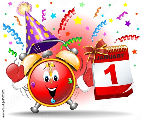 happy new year party cartoon clock sveglia festa capodanno