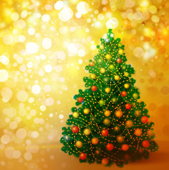 Christmas tree on golden background, greeting card.