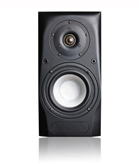 Black Audio Speaker Isolated on the White Background