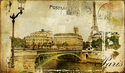 Fotomurales - memories about Paris - vintage background