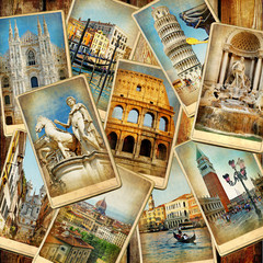 Fototapete - travel in Italy - vintage collage from old cards