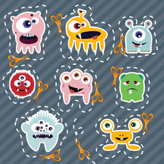 Aluminium Prints Creatures Collection of cute colorful monsters, vector