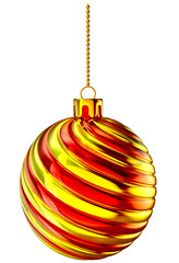 Christmas-tree ball with gold and red spiral