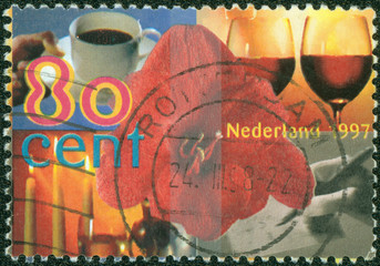 greeting stamp printed in Netherlands