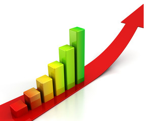 red arrow and colorful bar graph on white background